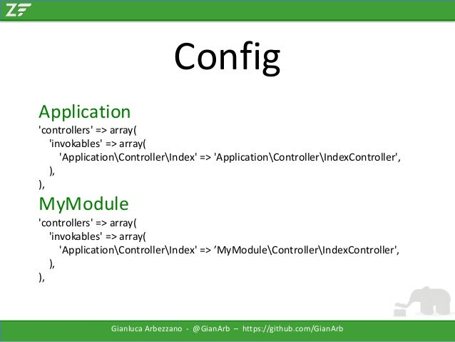 Config Application 'controllers' => array( 'invokables' => array( 'ApplicationControllerIndex' => 'ApplicationControllerIn...
