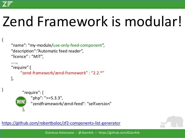 """Zend Framework is modular! { """"name"""": """"my-module/use-only-feed-component"""", """"description"""":""""Automatic feed reader"""", """"licence""""..."""