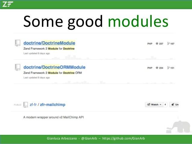 Some good modules  Gianluca Arbezzano - @GianArb – https://github.com/GianArb