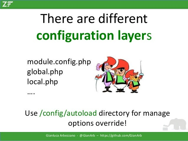 There are different configuration layers module.config.php global.php local.php …. Use /config/autoload directory for mana...
