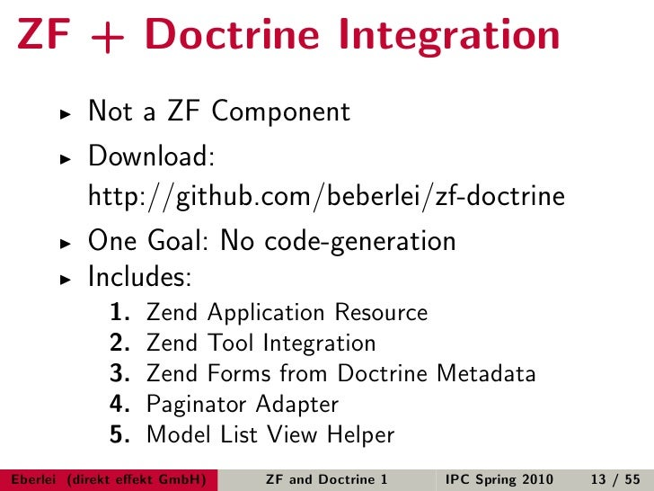 Just Married: Zend Framework and Doctrine