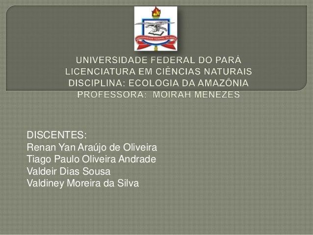 DISCENTES:Renan Yan Araújo de OliveiraTiago Paulo Oliveira AndradeValdeir Dias SousaValdiney Moreira da Silva