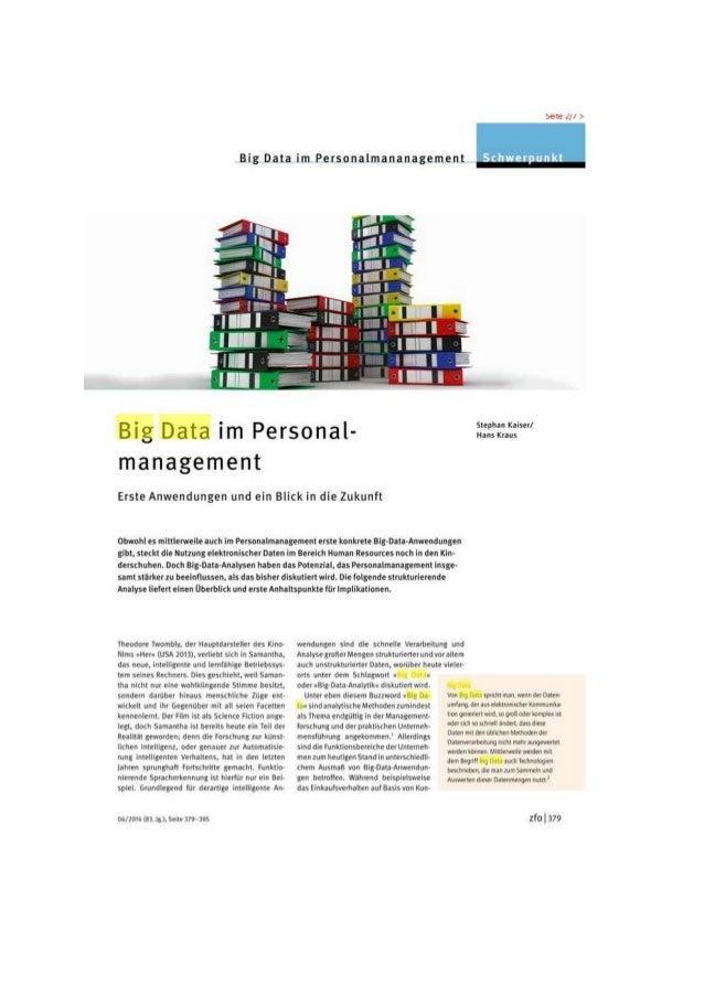 Big Data im Personalmananagement » - ~     Big Data im Personal-  management  Erste Anwendungen und ein Blick in die Zukun...