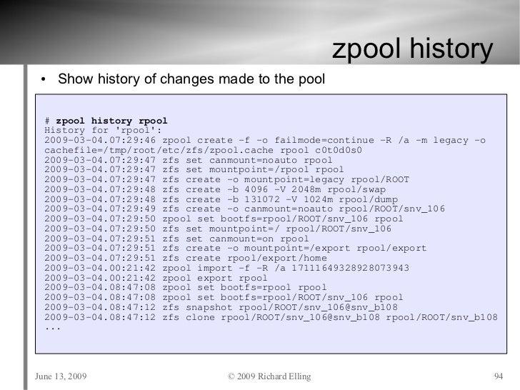Zfs tutorial usenix june 2009 for Show zfs pool