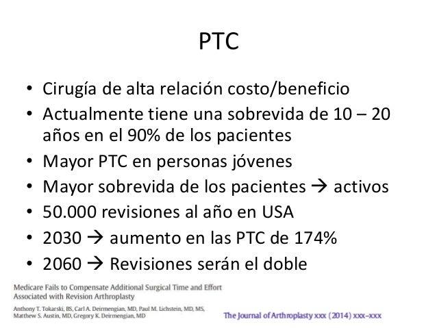 PTC • Cirugía de alta relación costo/beneficio • Actualmente tiene una sobrevida de 10 – 20 años en el 90% de los paciente...
