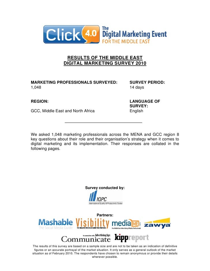 RESULTS OF THE MIDDLE EAST                        DIGITAL MARKETING SURVEY 2010   MARKETING PROFESSIONALS SURVEYED:       ...