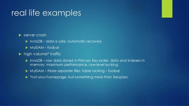 MySQL InnoDB vs others (MyISAM)