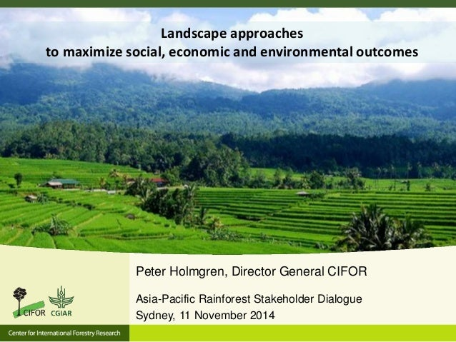 Landscape approaches  to maximize social, economic and environmental outcomes  Peter Holmgren, Director General CIFOR  Asi...