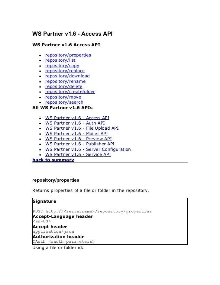 WS Partner v1.6 - Access APIWS Partner v1.6 Access API   ● repository/properties   ● repository/list   ● repository/copy  ...