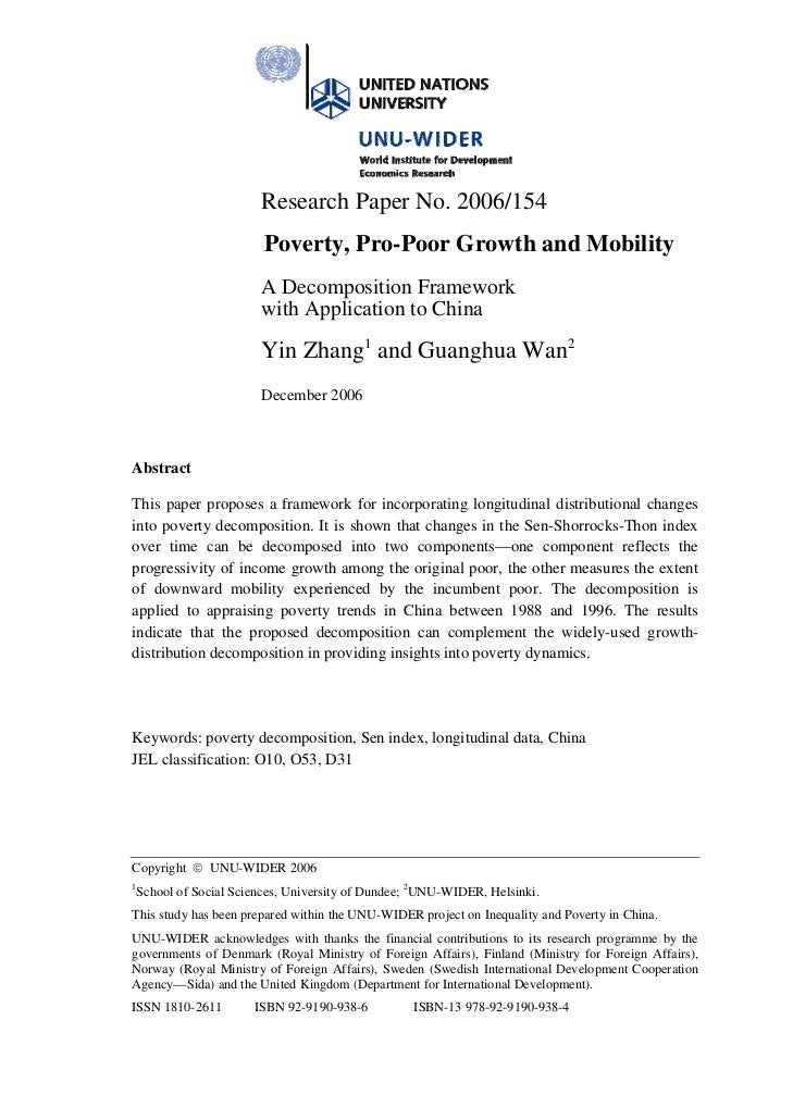 Research Paper No. 2006/154                       Poverty, Pro-Poor Growth and Mobility                      A Decompositi...