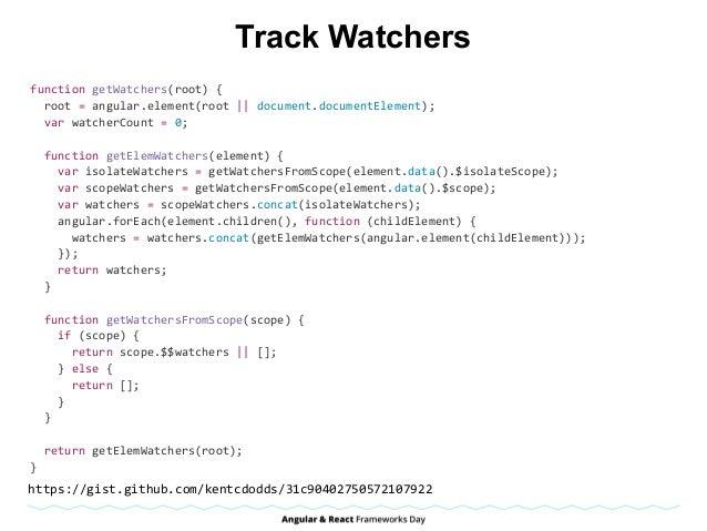 Track Watchers functiongetWatchers(root){ root=angular.element(root  document.documentElement); varwatcherCou...