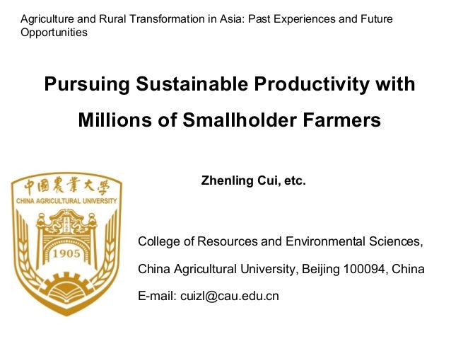 College of Resources and Environmental Sciences, China Agricultural University, Beijing 100094, China E-mail: cuizl@cau.ed...