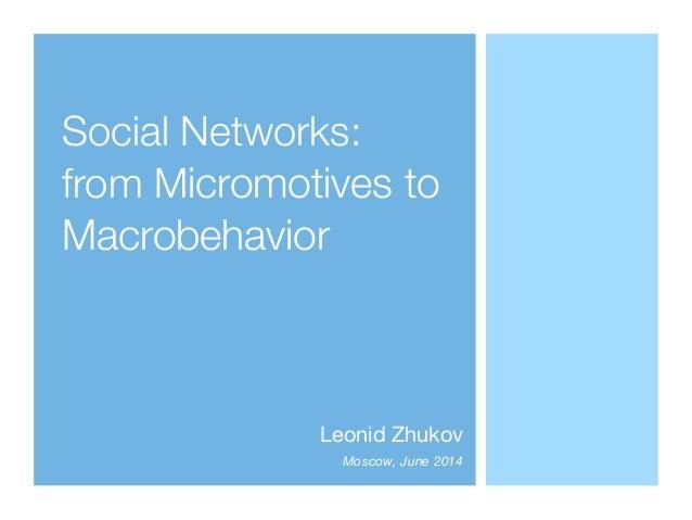 Social Networks: from Micromotives to Macrobehavior Leonid Zhukov  Moscow, June 2014