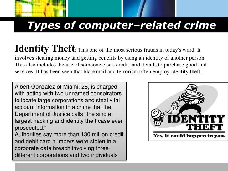 the definition of computer crimes and the different types of crimes Different people have different lists of types of computer crimes here is a list of four main types of crimes, with a fifth type that is sometimes added to the four: internal computer crimes .