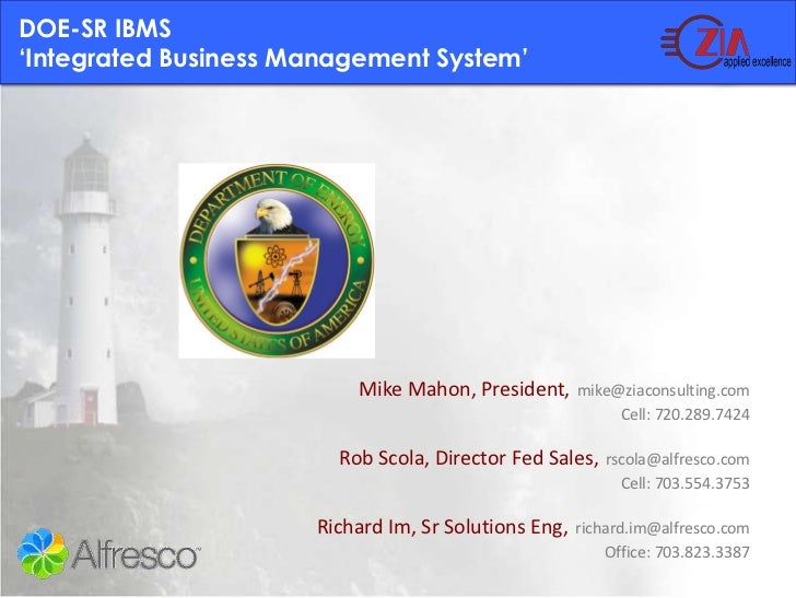DOE-SR Integrated Business Management using Zia Consulting Fresh Contracts and Alfresco ECM