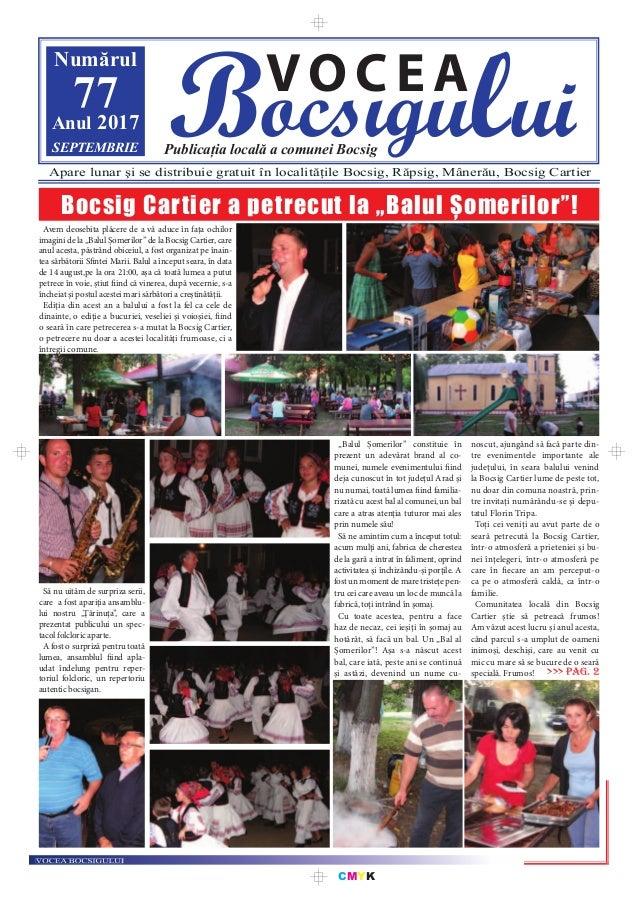 CMYK Bocsigului VOCEA Publicația locală a comunei Bocsig Numărul 77Anul 2017 SEPTEMBRIE Apare lunar şi se distribuie gratu...