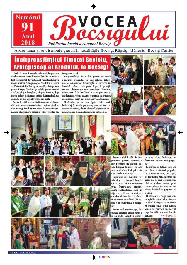 CMYK Bocsigului VOCEA Publicația locală a comunei Bocsig Numărul 91Anul 2018 Apare lunar şi se distribuie gratuit în local...