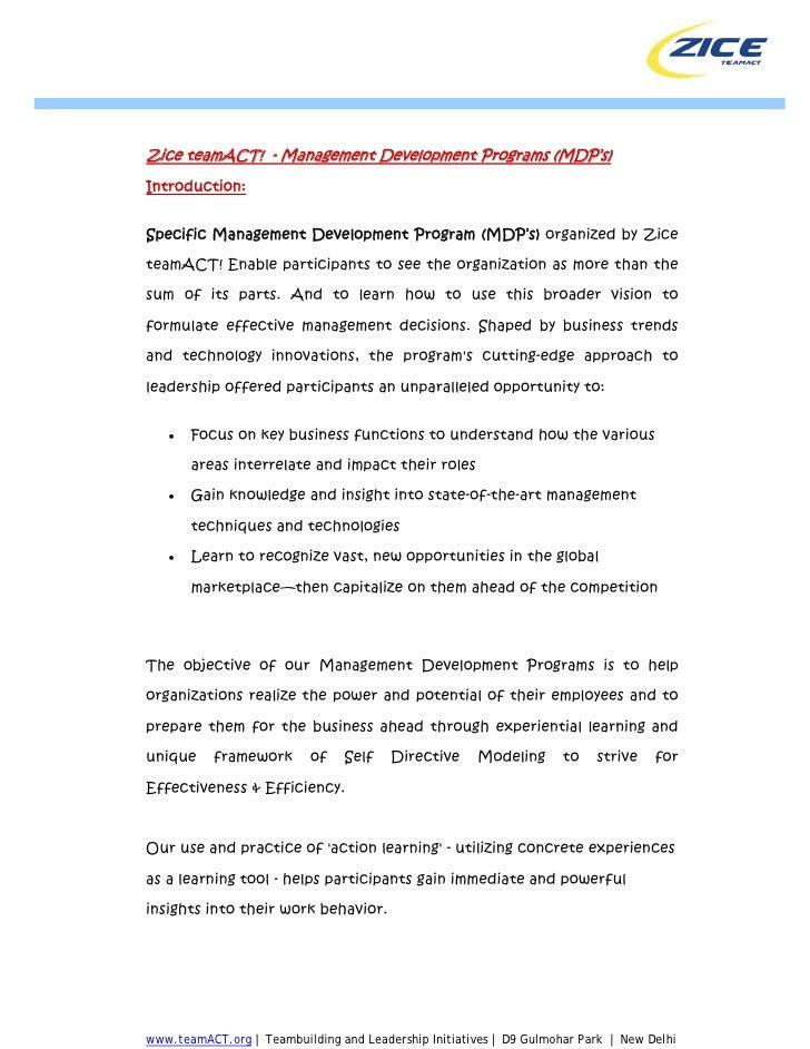Zice teamACT! - Management Development Programs (MDP's) Introduction:   Specific Management Development Program (MDP's) or...