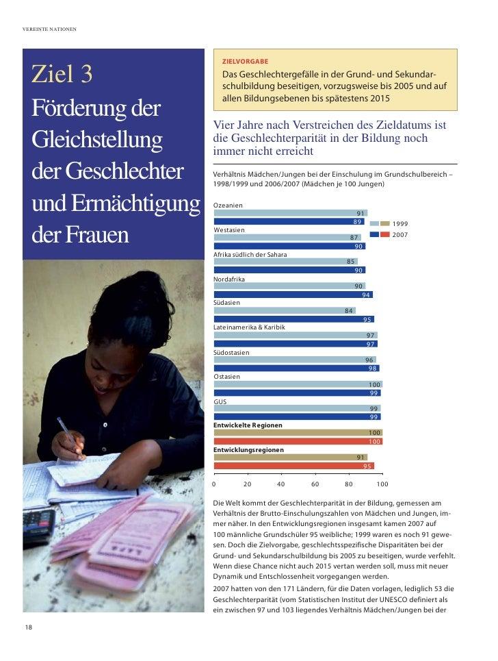VEREINTE NATIONEN                              ZIELVORGABE    Ziel 3                 Das Geschlechtergefälle in der Grund-...