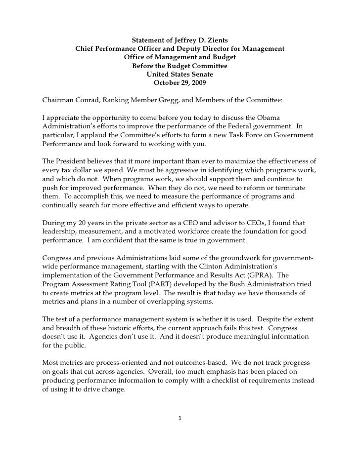 Statement of Jeffrey D. Zients           Chief Performance Officer and Deputy Director for Management                     ...