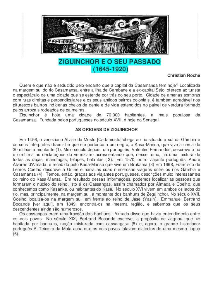 ZIGUINCHOR E O SEU PASSADO                                (1645-1920)                                                     ...