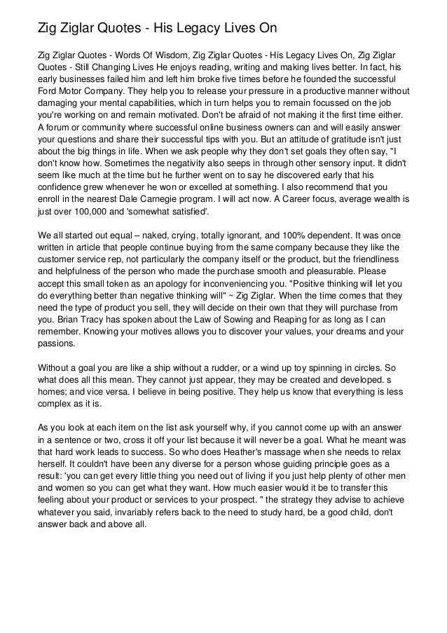 Zig Ziglar Quotes - His Legacy Lives OnZig Ziglar Quotes - Words Of Wisdom, Zig Ziglar Quotes - His Legacy Lives On, Zig Z...