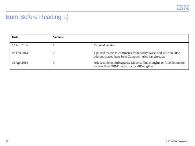 © 2014 IBM Corporation29 Burn Before Reading :-) Date Version 13 Jan 2014 1 Original version 07 Feb 2014 2 Updated thanks ...