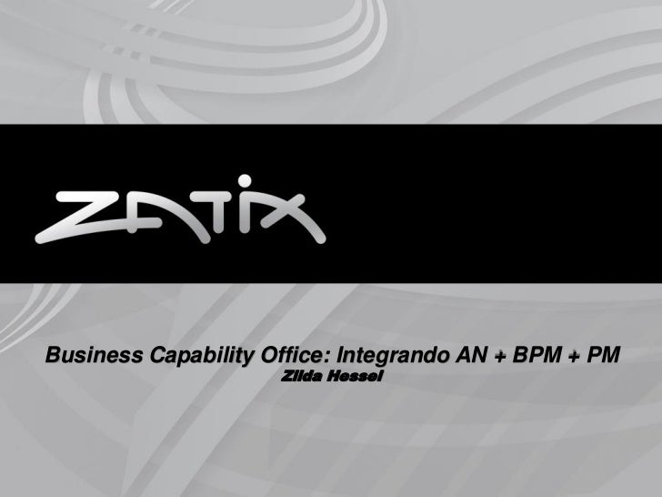 Business Capability Office: Integrando AN + BPM + PM                     Zilda Hessel                                     ...