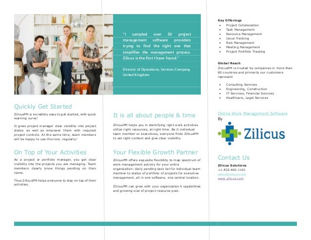 Zilicus Pm Online Project Management Software Brochure
