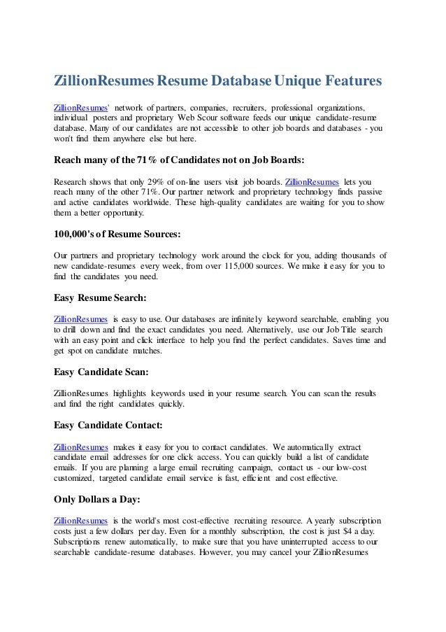 ZillionResumes Resume DatabaseUnique Features ZillionResumesu0027 Network Of  Partners, Companies, Recruiters, Professional Org ...  Resume Database