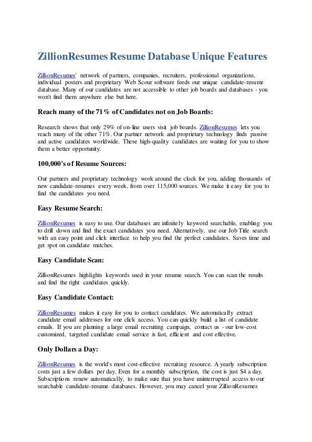 ZillionResumes Resume DatabaseUnique Features ZillionResumesu0027 Network Of  Partners, Companies, Recruiters, Professional Org ...  Resume Database