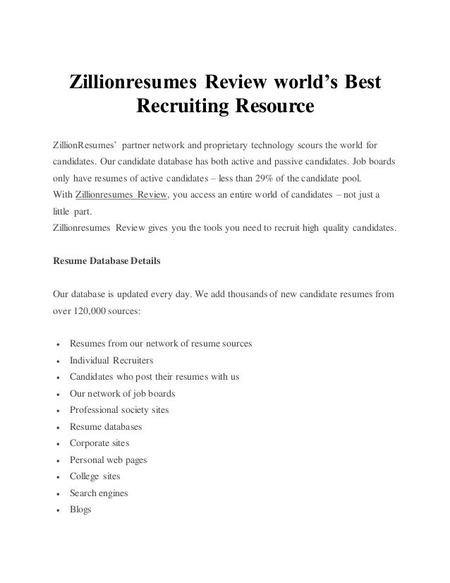Zillionresumes Review Worlds Best Recruiting Resource