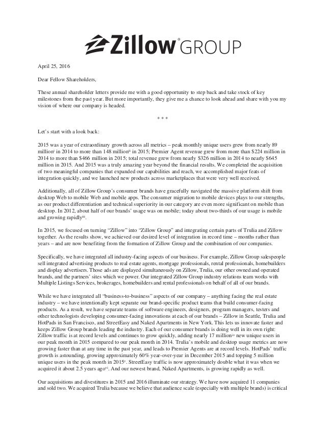 amazon letter to shareholders zillow shareholder letter 2016 10492 | zillow group shareholder letter 2016 1 638
