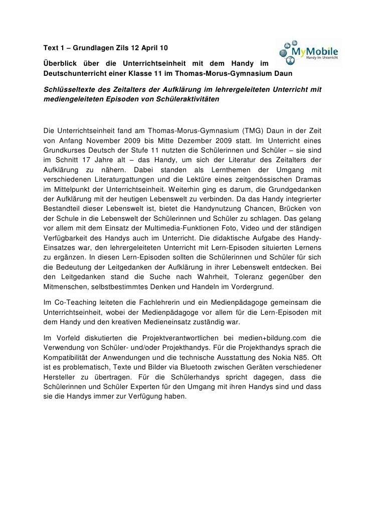 Text 1 – Grundlagen Zils 12 April 10  Überblick über die Unterrichtseinheit mit dem Handy im Deutschunterricht einer Klass...