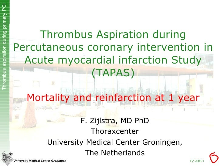 Thrombus Aspiration during Percutaneous coronary intervention in Acute myocardial infarction Study (TAPAS) Mortality and r...