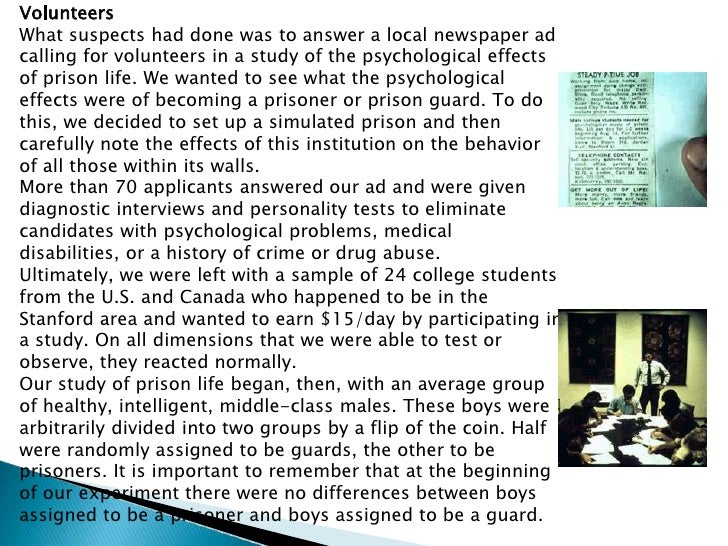 stanford county prison experiment essay The stanford prison experiment essay sample research design to examine the psychological disposition of becoming a prisoner and a prison guard, psychology professor philip zimbardo conducted the stanford prison experiment, which basically simulates a correctional facility built at the basement of psychology building in stanford.