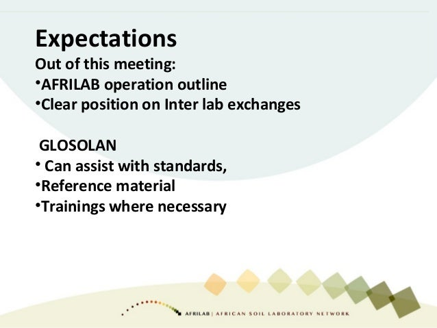 Expectations Out of this meeting: •AFRILAB operation outline •Clear position on Inter lab exchanges GLOSOLAN • Can assist ...