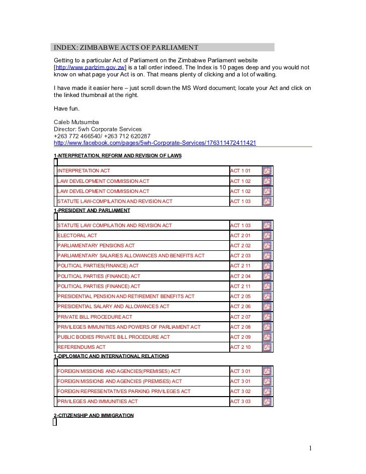 INDEX: ZIMBABWE ACTS OF PARLIAMENTGetting to a particular Act of Parliament on the Zimbabwe Parliament website[http://www....