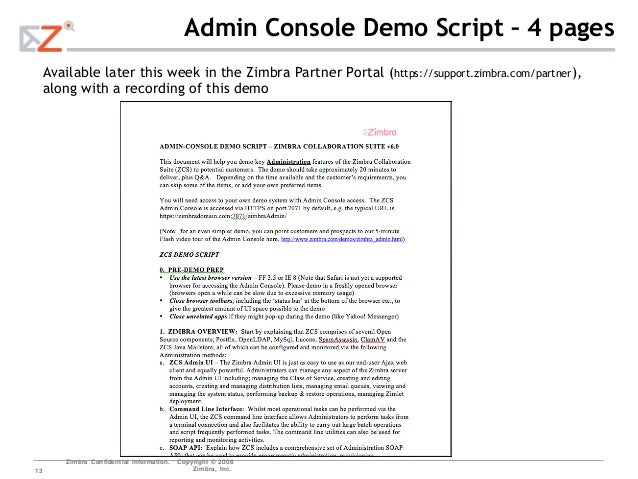 Zimbra admin ui demo presentation