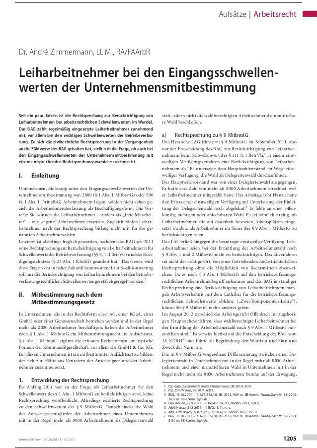 Dr. André Zimmermann, LL.M., RA/FAArbR Leiharbeitnehmer bei den Eingangsschwellen- werten der Unternehmensmitbestimmung Se...