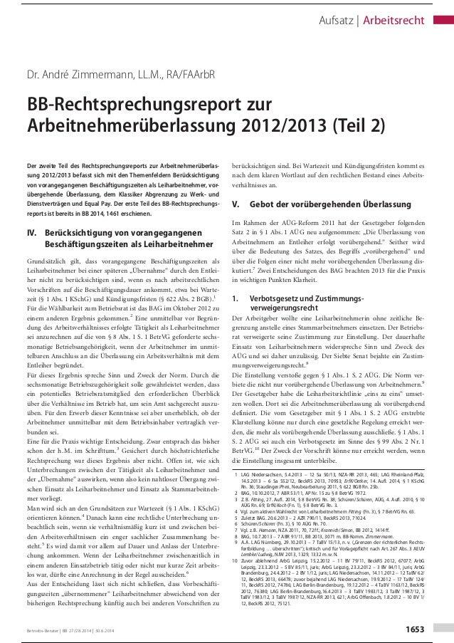 Dr. André Zimmermann, LL.M., RA/FAArbR BB-Rechtsprechungsreport zur Arbeitnehmerüberlassung 2012/2013 (Teil 2) Der zweite ...