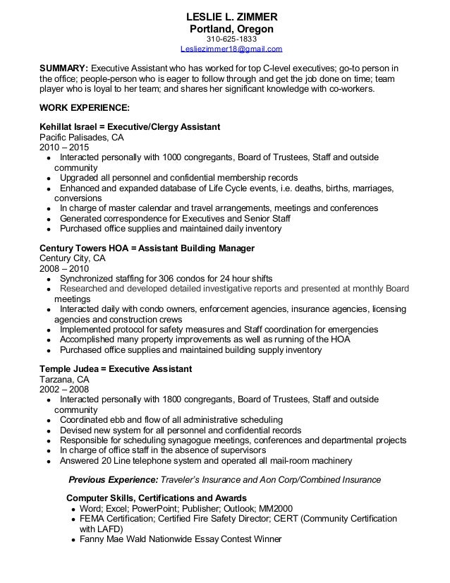 Zimmer resume'