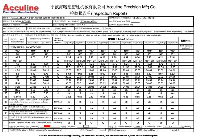 China Acculine Zinc Die Casting Part Quality Control Inspection Repor