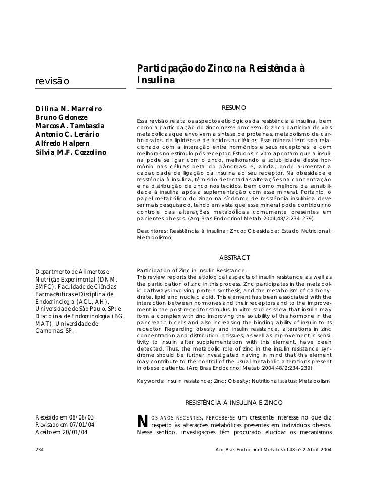 Participação do Zinco na Resistência à revisão                             Insulina  Dilina N. Marreiro                   ...