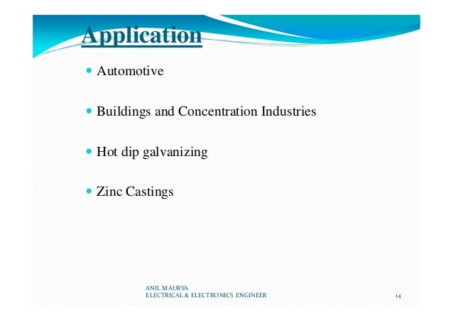 Application Automotive Buildings and Concentration Industries Hot dip galvanizing Zinc Castings ANIL MAURYA ELECTRICAL & E...