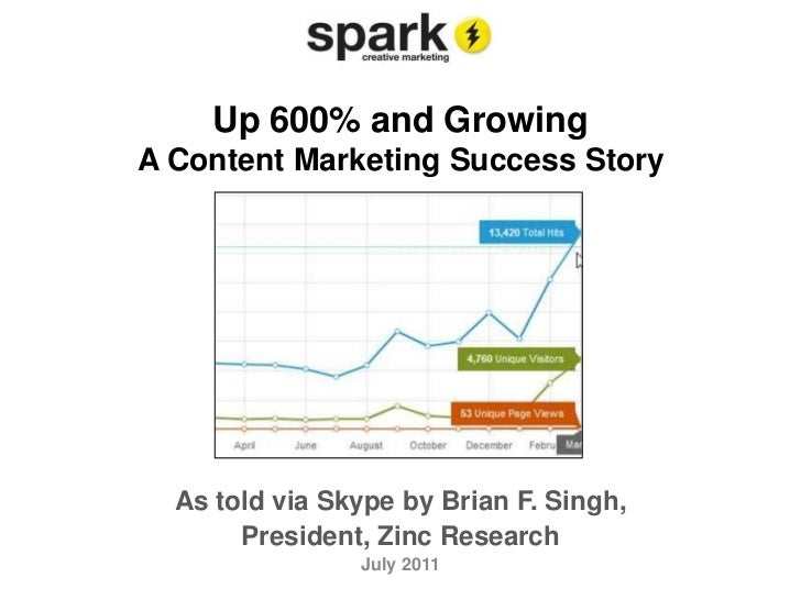 Up 600% and GrowingA Content Marketing Success Story<br />As told via Skype by Brian F. Singh, <br />President, Zinc Resea...