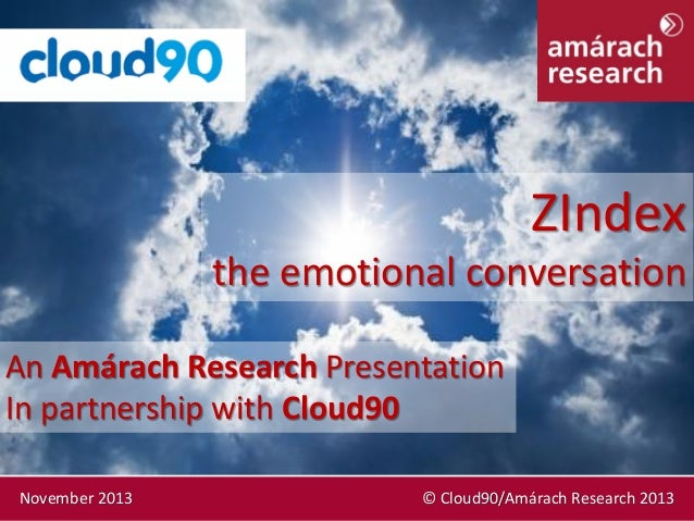ZIndex the emotional conversation An Amárach Research Presentation In partnership with Cloud90 November 2013  © Cloud90/Am...