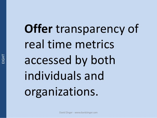 Offer transparency of  real time metrics  accessed by both  individuals and  organizations.  David Zinger - www.davidzinge...