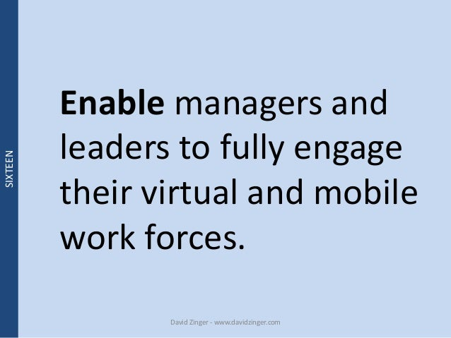 Enable managers and  leaders to fully engage  their virtual and mobile  work forces.  David Zinger - www.davidzinger.com  ...