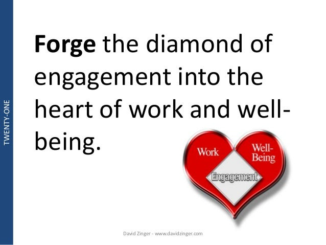 Forge the diamond of  engagement into the  heart of work and well-being.  David Zinger - www.davidzinger.com  TWENTY-ONE